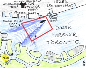 Ferry Wake from the CN Tower, Toronto (map)