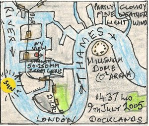 The Millennium Dome from West India Docks (map)