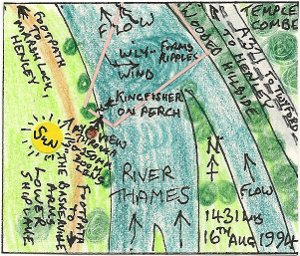 A Kingfisher at Lower Shiplake III (map)